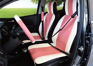 Unnie Universal White pink Front Seat Covers Steering Wheel 2 Seat Belt Covers