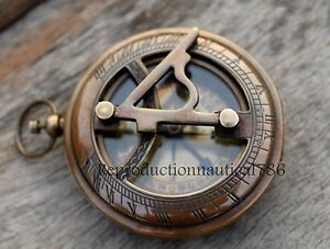 Antique Brass Compass Nautical Push Button Sundial Working Compass Leather Case