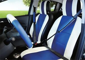 Unnie Universal White Blue Front Seat Covers Steering Wheel 2 Seat Belt Covers