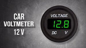 Voltage Meter Battery Gauge Green Led For Car Boat