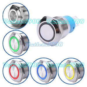 19mm 12v Ring Led Metal Latching momentary Push Button Switch 1no1nc Waterproof