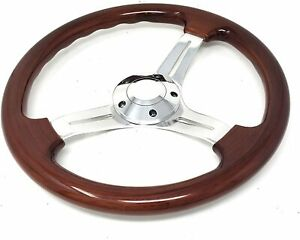 14 Classic Polished Aluminum Deep 3 spoke Wood Grain Drifting Steering Wheel