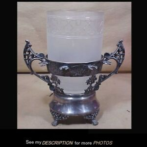 Antique Victorian Silver Plate Celery Vase Holder Frosted Cut To Clear Insert