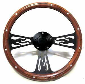 Volkswagen Vw 1975 88 Super Beetle Black Billet Wood Steering Wheel