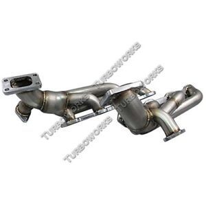 Cxracing Twin Turbo Header For 79 93 Ford Fox Body Mustang 5 0l T3 38mm Wg