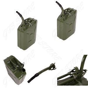 2 Jerry Can 5 Gallon 20l Gas Tank Gasoline Fuel Army Nato Military Metal Steel