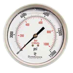 4 All Stainless Steel Pressure Gauge 1 4 Npt Center Back Mnt 15000psi