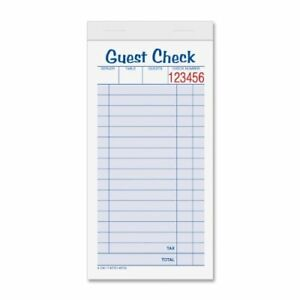 Tops Guest Check Books 2 part Carbonless White canary 3 11 32 X 6 3 8 50 10