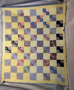Vintage Handmade Bow Tie Feed Sack Patchwork Quilt Primitive Quilt Blocks 86x71