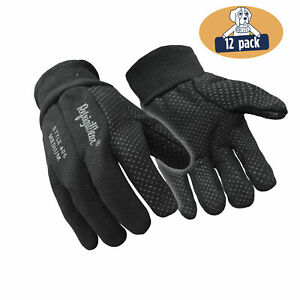 Refrigiwear Insulated Jersey Cotton Knit Work Gloves With Dotted Grip 12 Pairs