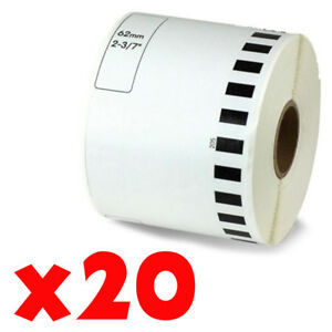 20 Roll 2 7 16 X 105ft 62mm Dk 2205 Continuous Label Compatible Brother Ql 570