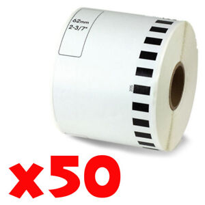 50 Roll 2 7 16 X 105ft 62mm Dk 2205 Continuous Label Compatible Brother Ql 570