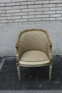 French Louis Xvi Style Hand Painted Carved Chair New Upholstery