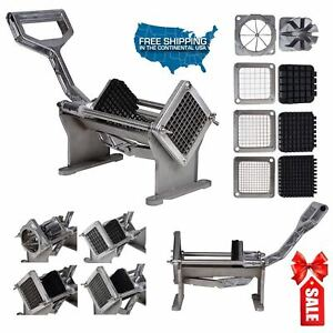 Commercial Quality French Fry Potato Cutter Fruits Vegetables Slicer 4 Blades Al
