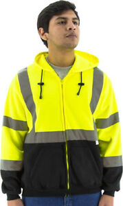 Majestic 75 5325 Hi viz Hooded Zip up Sweatshirt Ansi Class 3 type R m 4xl