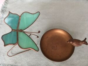 Pair Of Brass Mid Century Modern Pieces Brass Dish Stain Glass Butterfly