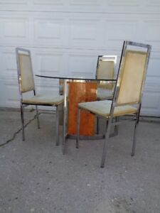 Chrome Brass Dining Chairs Table Mid Century Modern Regency Willy Rizzo Italy