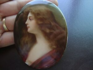 Antique Dresden Nude Portrait Porcelain Plaque Painting Asti