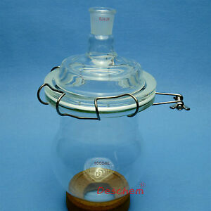 1000ml 24 29 Glass Reactor single Neck 1l reaction Bottle w steel Clamp And Lid