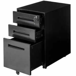 Rolling A4 File Cabinet Sliding Drawer Metal Office Organizer Storage Black New