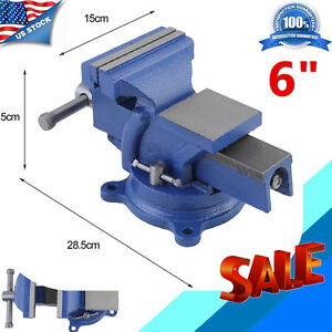 Heavy Duty 6 Work Bench Vice Vise Workshop Clamp Engineer Jaw Swivel Base Table