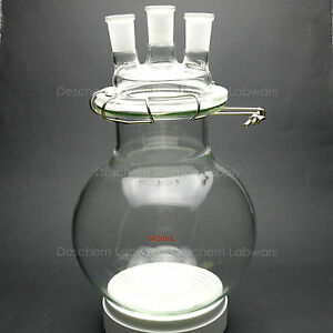 5000ml glass Reaction Vessel 5l 24 40 3 necks lab Round Bottom Chemical Reactor