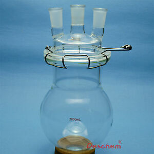 3000ml 24 40 glass Reaction Vessel 3l three neck Lab Reactor with lid
