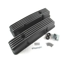 Sbc Chevy 350 Finned Black Powder Coated Aluminum Tall Valve Covers Bpe 2005b