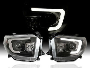 14 17 Toyota Tundra Sr5 Optic Led Tube Light Bar Drl Black Projector Headlights