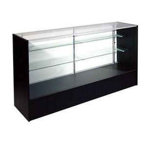 6 Full Vision Retail Glass Display Case In Black Free Shipping