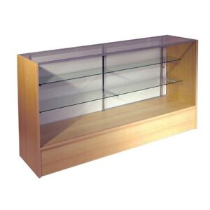 6 Full Vision Maple Retail Glass Display Case Showcase Will Ship