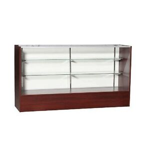 6 Full Vision Walnut Retail Glass Display Case Showcase Shipping Included