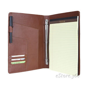 Cowhide Leather Portfolio Padfolio 3 Ring Binder Case Senior Lawyer Organizer