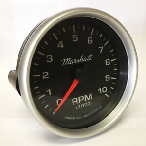 Marshall 5 In Dash Tachometer 0 10 000 Rpm Silver Aluminum Bezel 2053
