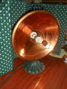 Vintage Electric Heater Deco Copper Clam Shell Base Works Portable