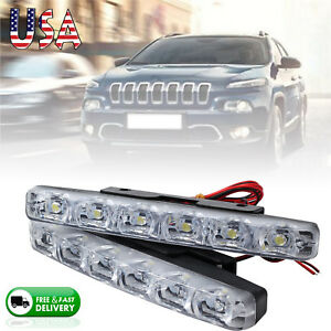 2 X 6led Daytime Running Lights Drl Car Fog Day Driving Universal White Lamp 12v
