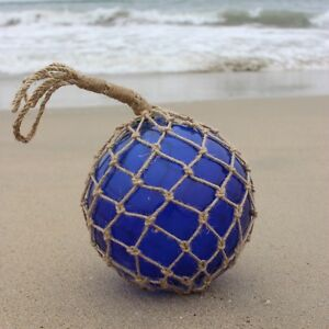 10 Large Vintage Style Japanese Fishing Float Blue Glass With Rope Netting