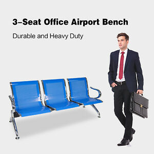 3 Seat Blue Stainless Steel Airport Hospital Bank Office Hallway Waiting Chair