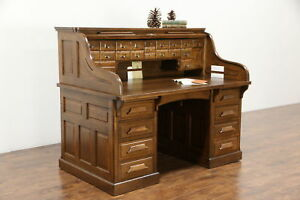 Raised Panel 1900 Antique Quarter Sawn Oak S Roll Top Desk Signed Gunn