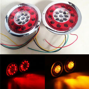 2x Round 19led Truck Trailer Loader Brake Stop Tail Light Turn Signal Red Amber