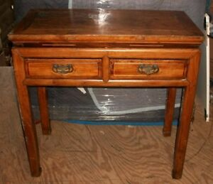 Antique Vintage 1800s Asian Chinese Cypress Elm 2 Drawer Hall Side Table Desk
