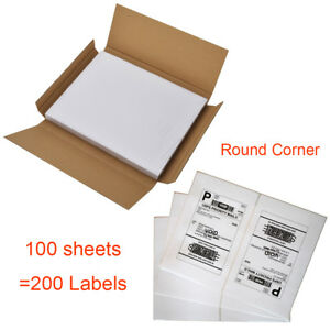 200 Half Sheet Shipping Labels Self Adhesive 8 5 X 5 5 Round Corner Usps