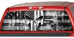 American Flag Punisher Skull Rear Window Graphic Decal Pickup Truck Jolly Roger
