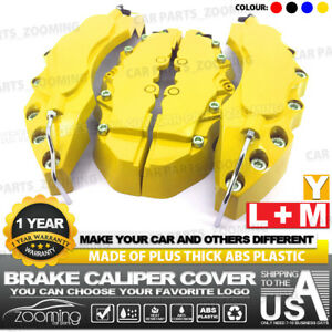 4x Yellow Brake Caliper Covers Style Disc Universal Car Front Rear Kits L M Lw01