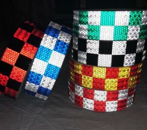 High Intensity Chequer Chequered Safety Diy Reflective Tape Vinyl Self adhesive