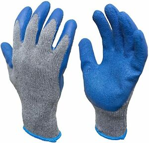 Work Gloves Textured Rubber Latex Coated For Construction 12 pairs Men s Large