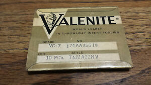 10 New Valenite Tnma 32nv Vc7 Carbide Threading Inserts