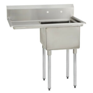 1 One Compartment Commercial Stainless Steel Prep Pot Sink 36 5 X 25 8 G