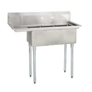 3 Three Compartment Commercial Stainless Steel Sink 44 5 X 20