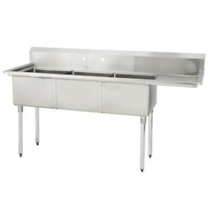 3 Three Compartment Commercial Stainless Steel Sink 44 5 X 19 8